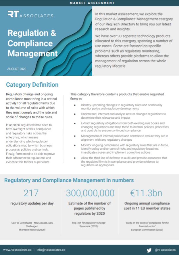 Regulatory and Compliance Management Market Assessment Title Page - RegTech Associates